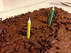Oatmeal chocolate chip birthday cake.