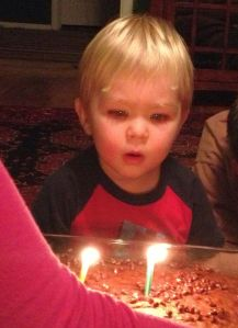 He blew out the candles 3 times.