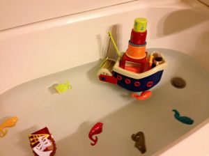 The second birthday gift was a fishing ship for bath time.